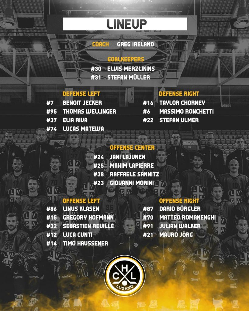 Lineup HC Pilsen vs HC Lugano Champions Hockey League 30.08.2018