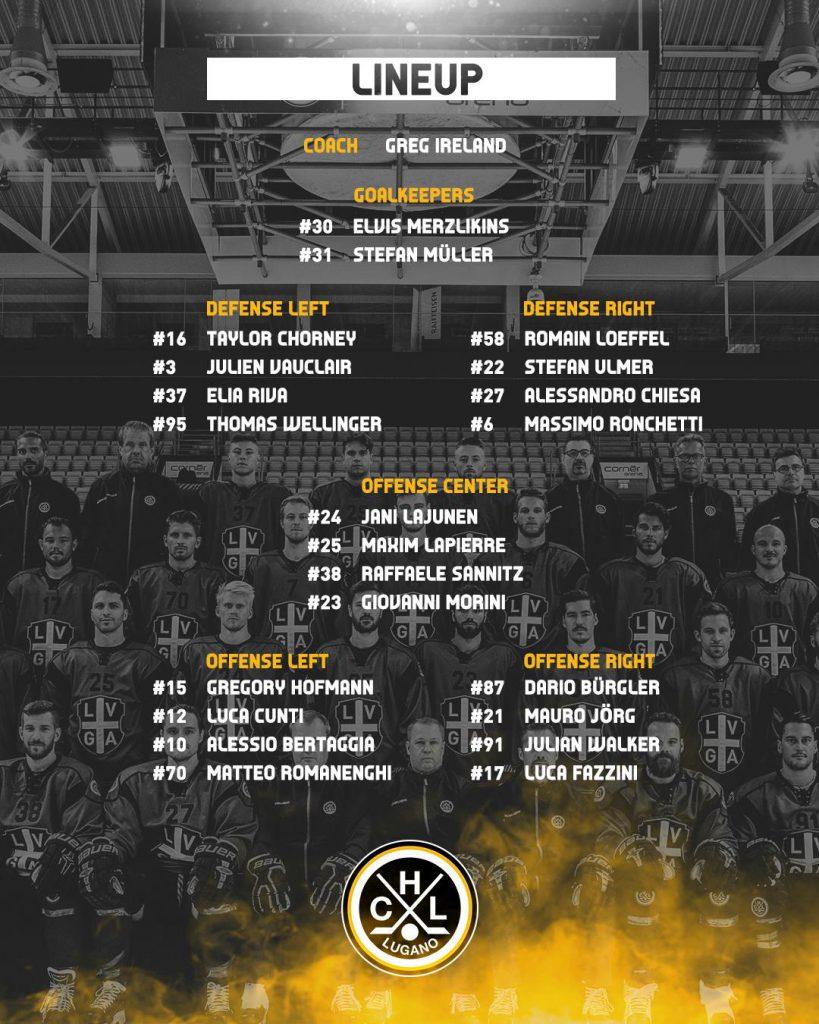 Line up Lugano vs SCL Tigers 05.10