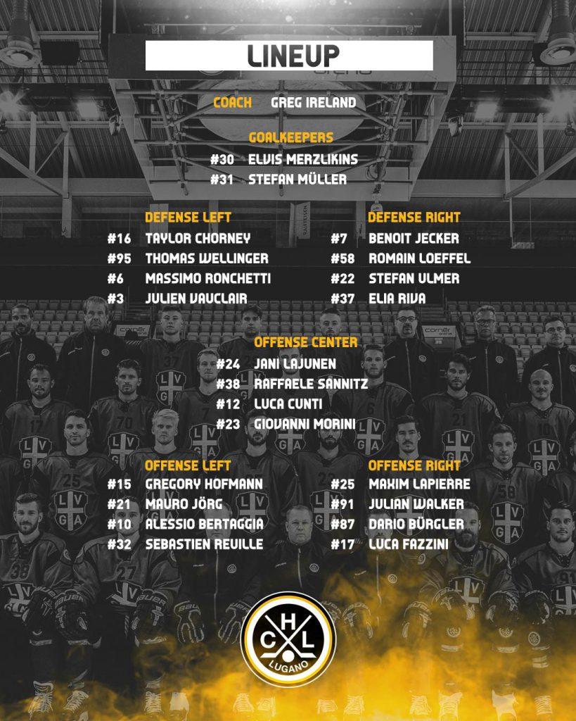 Lineup EV Zug vs HC Lugano 22.09