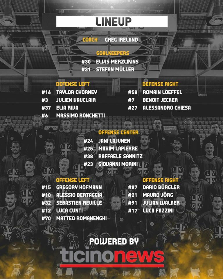 Lineup HC Lugano vs HC Ambri Piotta 02.10