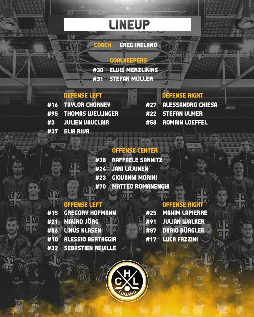 Lineup HC Lugano vs HC Fribourg Gotteron_23.11.2018
