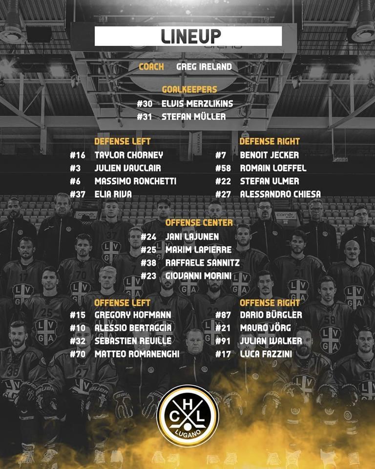 Lineup HC Lugano vs Lausanne HC 01.10