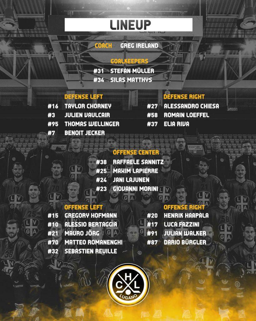 Lineup_HC Lugano vs EHC Bienne 23.12.2018