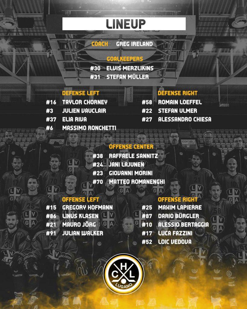Lineup_EV Zug vs HC Lugano_26.01.2019