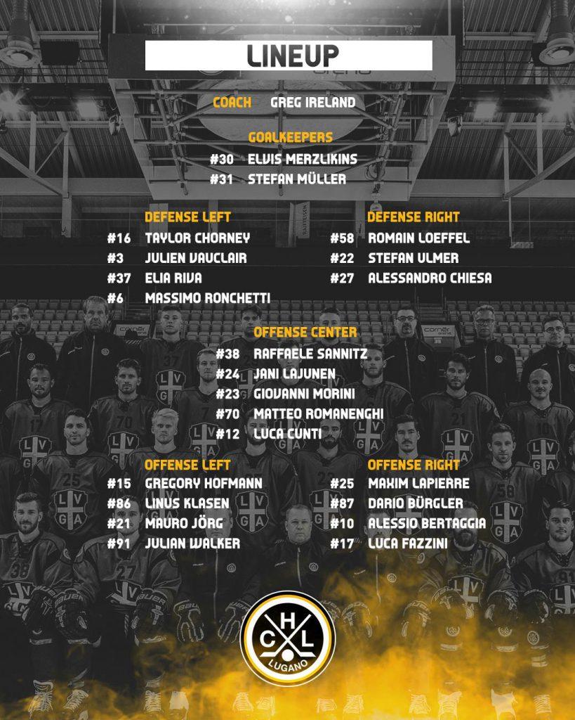 Lineup_HC Lugano vs Lausanne HC_25.01.2019