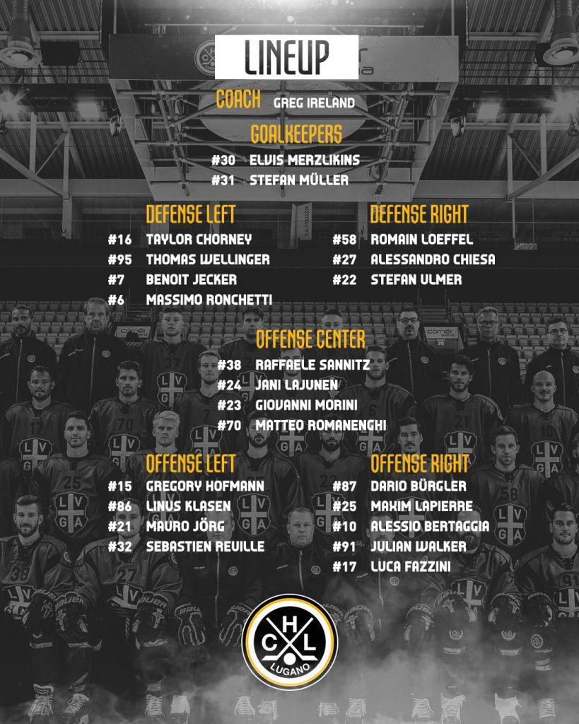 Lineup_EV Zug vs HC Lugano Playoffs Quarter Finals_09.03.2019