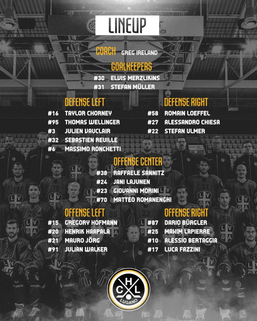 Lineup_HC Lugano vs EV Zug Playoffs Quarter Finals_12.03.2019