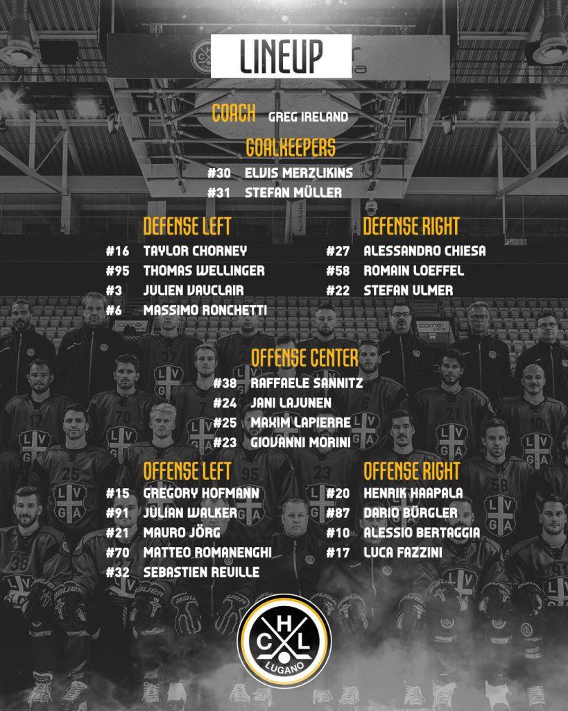 Lineup_HC Lugano vs EV Zug Playoffs Quarter Finals_16.03.2019